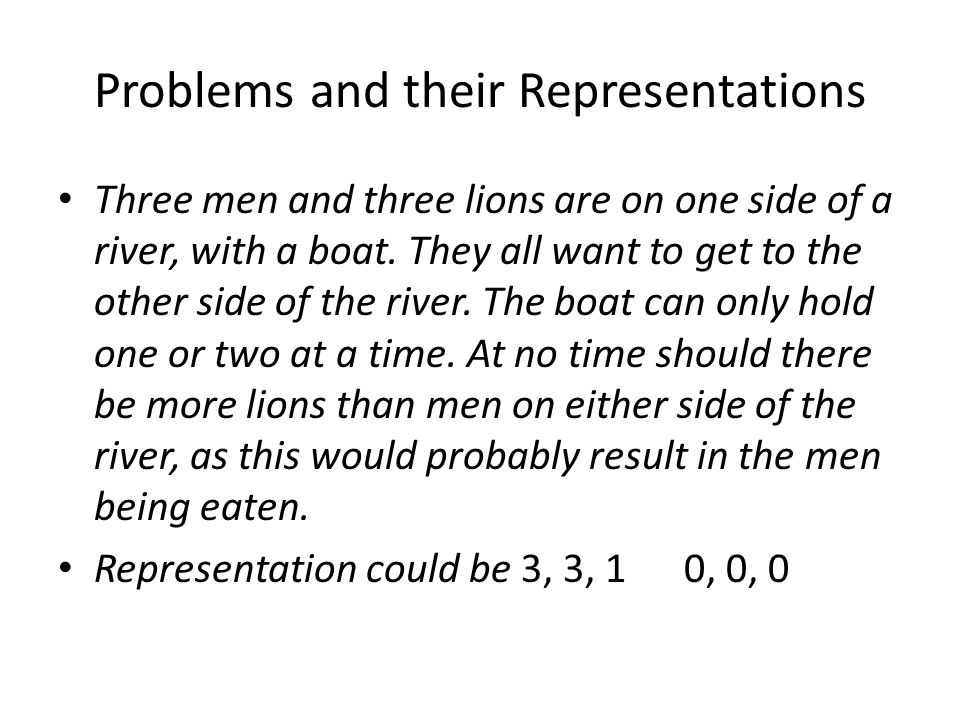 Problems and their Representations Three men and three lions are on one side of a river, with a boat.