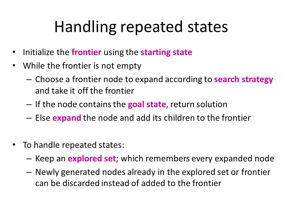 Handling repeated states Initialize the frontier using the starting state While the frontier is not empty – Choose a frontier node to expand according