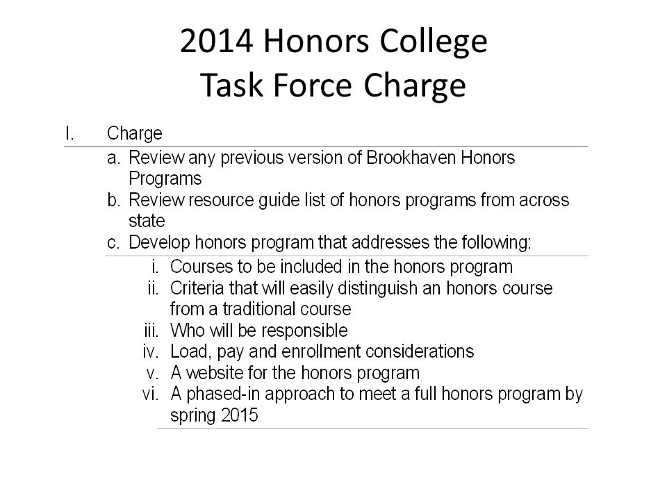 2014 Honors College Task Force Charge