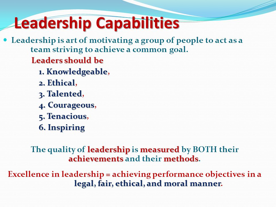 Leadership Quality Leadership Quality Leadership – 1. The ability to craft dynamic strategic plans 2. The skill to implement, direct & control those p