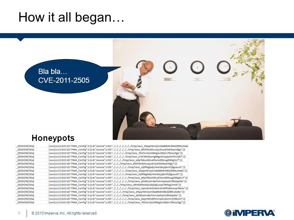 © 2013 Imperva, Inc. All rights reserved. How it all began… 3 Bla bla…CVE-2011-2505 Honeypots