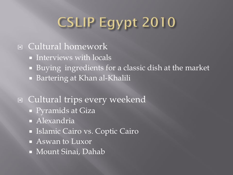  Cultural homework  Interviews with locals  Buying ingredients for a classic dish at the market  Bartering at Khan al-Khalili  Cultural trips every weekend  Pyramids at Giza  Alexandria  Islamic Cairo vs.