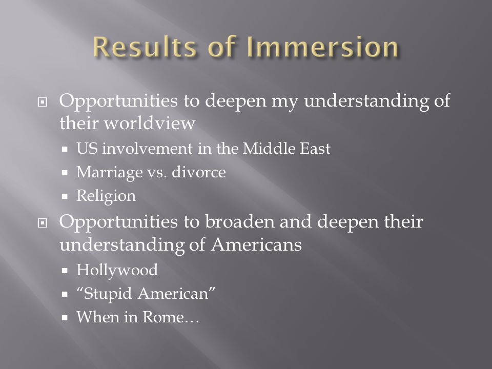  Opportunities to deepen my understanding of their worldview  US involvement in the Middle East  Marriage vs.
