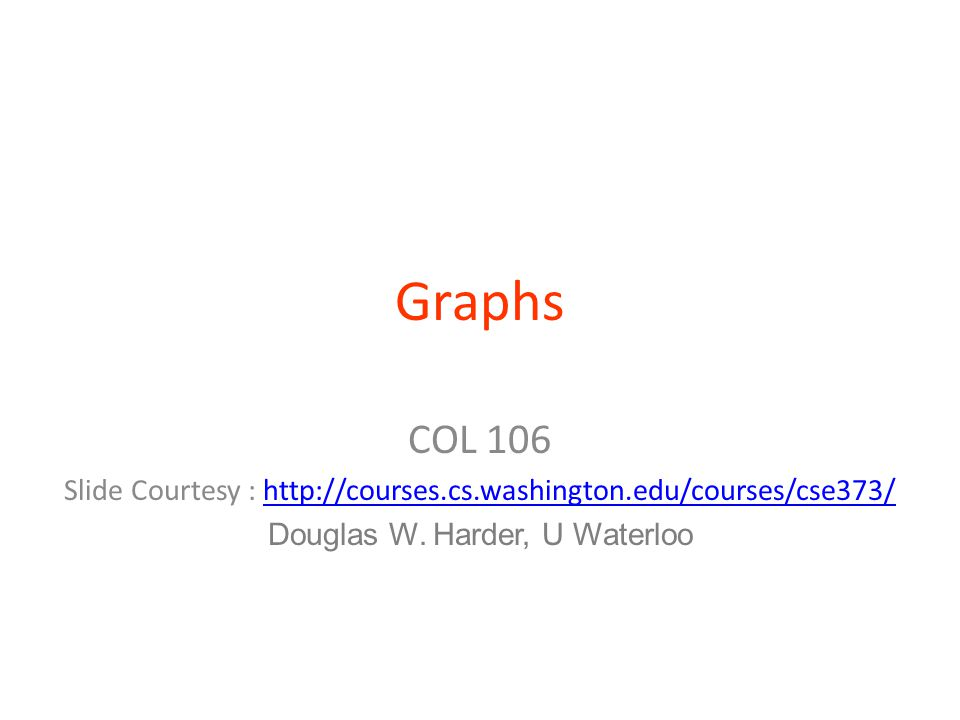 Graphs COL 106 Slide Courtesy : http://courses.cs.washington.edu/courses/cse373/http://courses.cs.washington.edu/courses/cse373/ Douglas W.