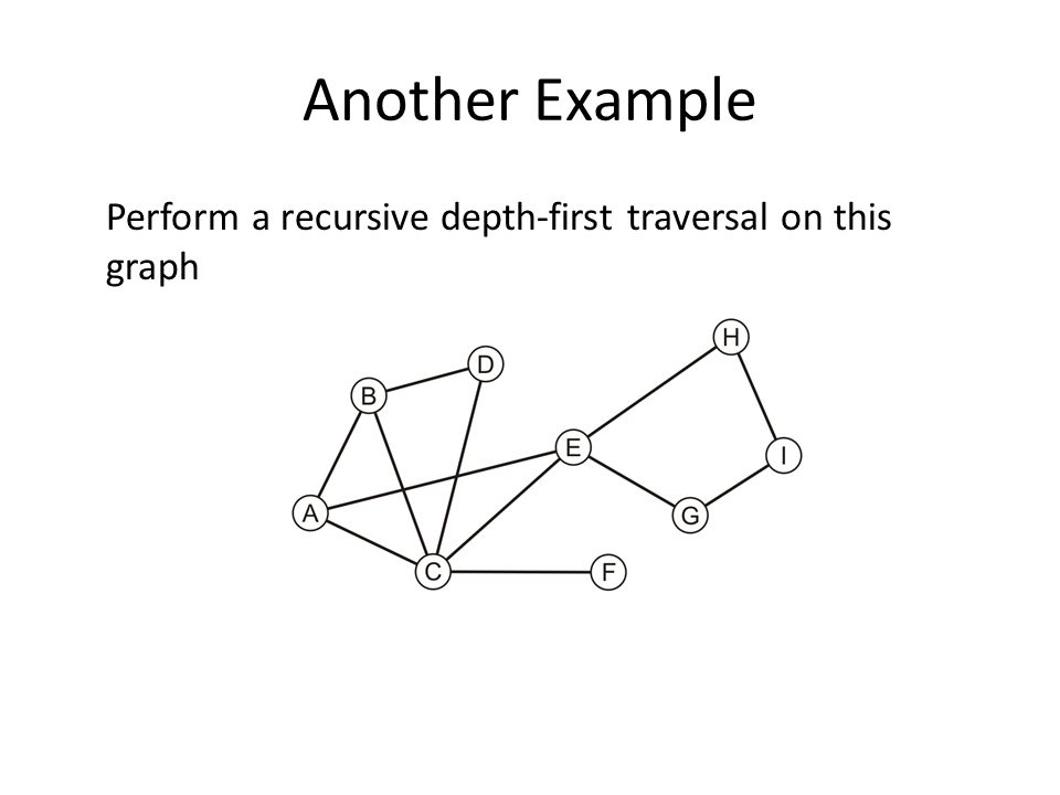 Another Example Perform a recursive depth-first traversal on this graph
