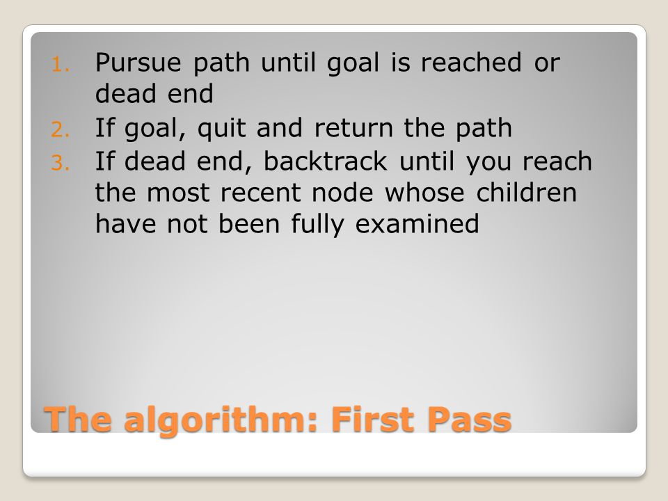The algorithm: First Pass 1. Pursue path until goal is reached or dead end 2. If goal, quit and return the path 3. If dead end, backtrack until you re