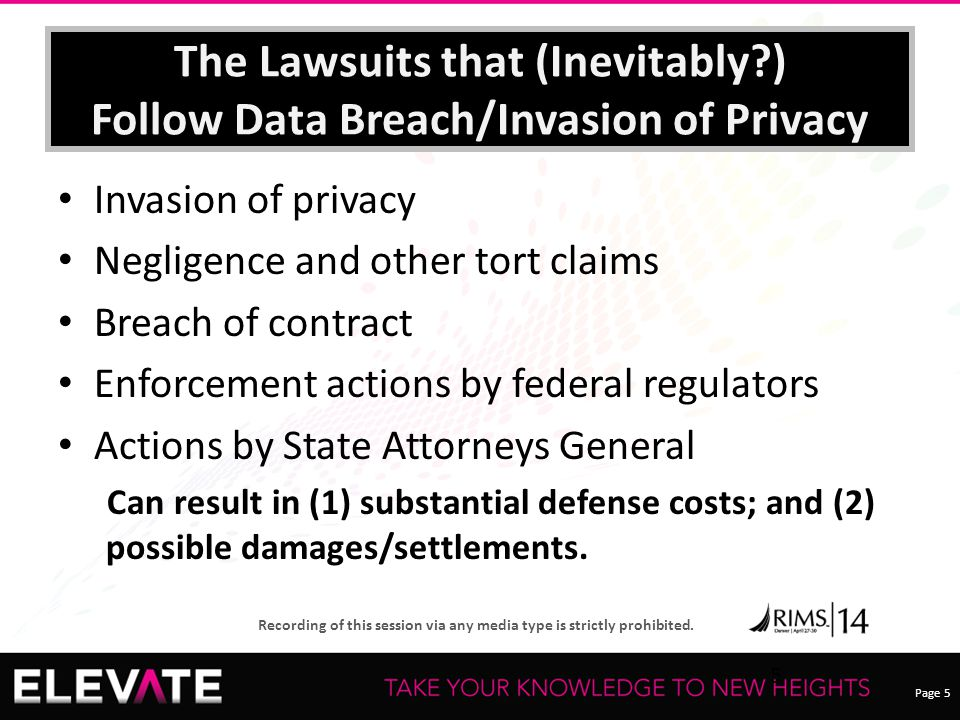 Page 5 Recording of this session via any media type is strictly prohibited. The Lawsuits that (Inevitably?) Follow Data Breach/Invasion of Privacy Inv