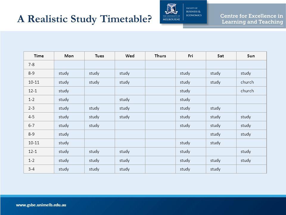 A Realistic Study Timetable? www.gsbe.unimelb.edu.au TimeMonTuesWedThursFriSatSun 7-8 8-9study 10-11study church 12-1study church 1-2study 2-3study 4-