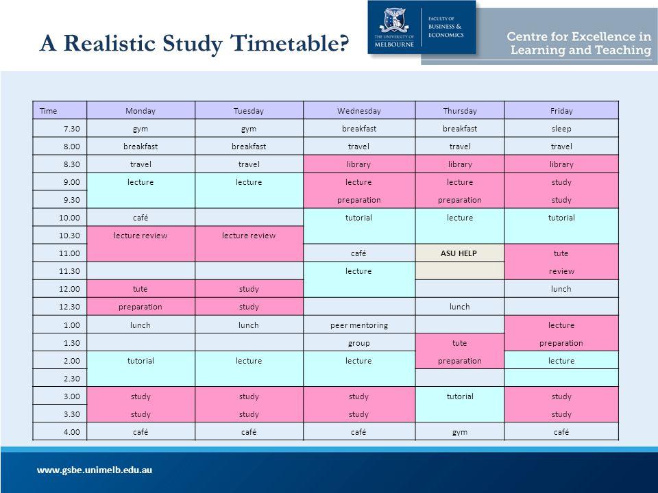 A Realistic Study Timetable? www.gsbe.unimelb.edu.au TimeMondayTuesdayWednesdayThursdayFriday 7.30gym breakfast sleep 8.00breakfast travel 8.30travel