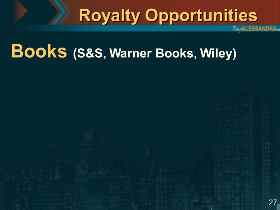 27 Royalty Opportunities Books (S&S, Warner Books, Wiley)