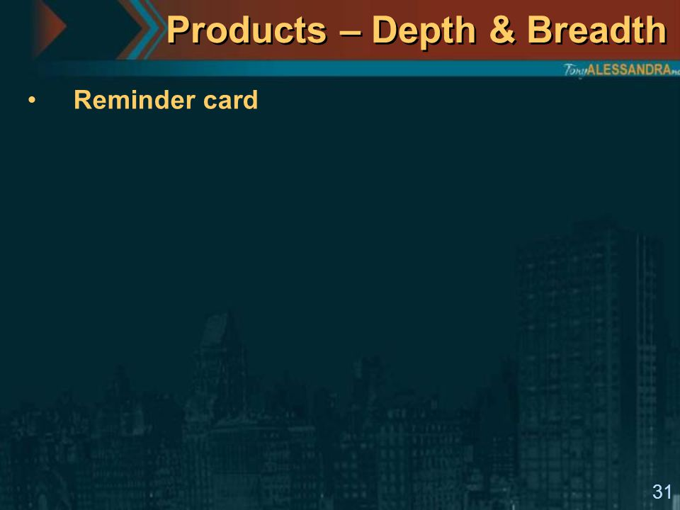 31 Products – Depth & Breadth Reminder card