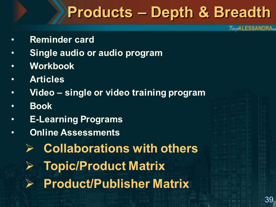 39 Products – Depth & Breadth Reminder card Single audio or audio program Workbook Articles Video – single or video training program Book E-Learning Programs Online Assessments  Collaborations with others  Topic/Product Matrix  Product/Publisher Matrix