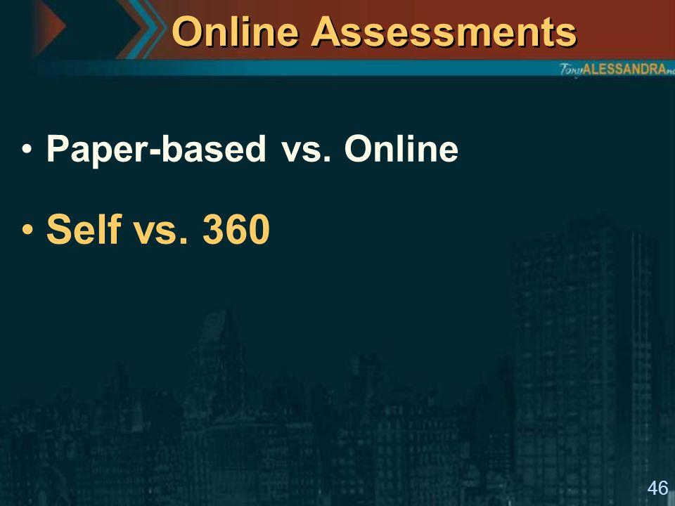 46 Online Assessments Paper-based vs. Online Self vs. 360