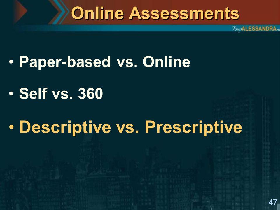 47 Online Assessments Paper-based vs. Online Self vs. 360 Descriptive vs. Prescriptive