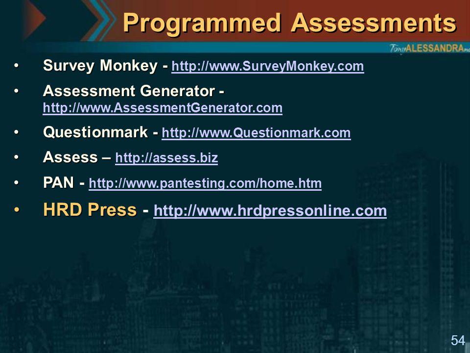 54 Programmed Assessments Survey Monkey -Survey Monkey - http://www.SurveyMonkey.com http://www.SurveyMonkey.com Assessment Generator -Assessment Generator - http://www.AssessmentGenerator.com http://www.AssessmentGenerator.com Questionmark -Questionmark - http://www.Questionmark.com http://www.Questionmark.com Assess –Assess – http://assess.biz http://assess.biz PANPAN - http://www.pantesting.com/home.htm http://www.pantesting.com/home.htm HRD PressHRD Press - http://www.hrdpressonline.com http://www.hrdpressonline.com