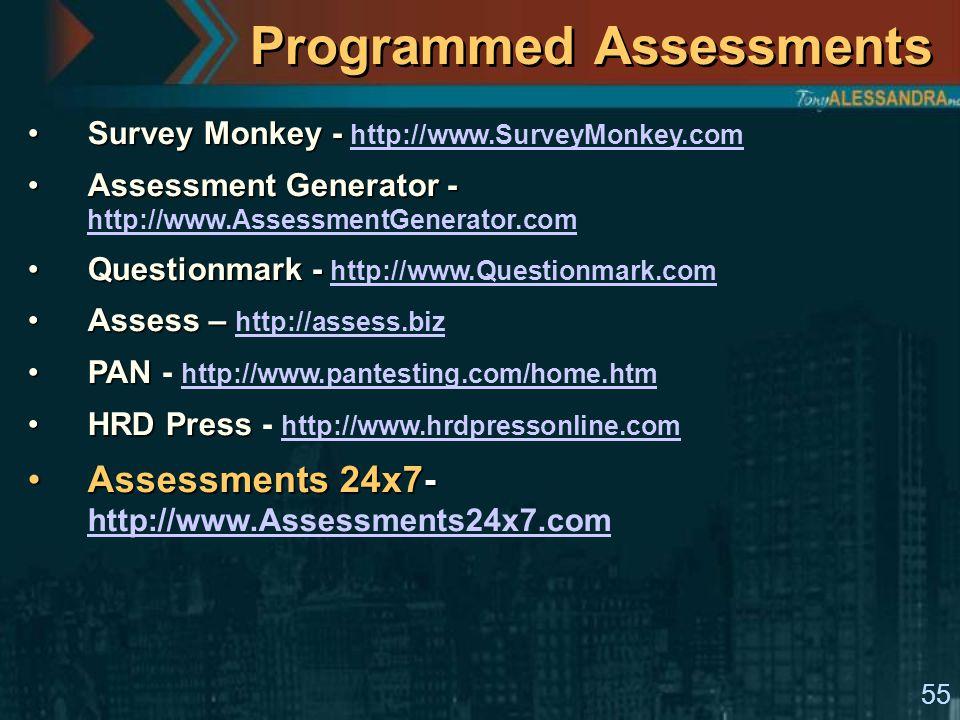 55 Programmed Assessments Survey Monkey -Survey Monkey - http://www.SurveyMonkey.com http://www.SurveyMonkey.com Assessment Generator -Assessment Generator - http://www.AssessmentGenerator.com http://www.AssessmentGenerator.com Questionmark -Questionmark - http://www.Questionmark.com http://www.Questionmark.com Assess –Assess – http://assess.biz http://assess.biz PANPAN - http://www.pantesting.com/home.htm http://www.pantesting.com/home.htm HRD PressHRD Press - http://www.hrdpressonline.com http://www.hrdpressonline.com Assessments 24x7-Assessments 24x7- http://www.Assessments24x7.com http://www.Assessments24x7.com