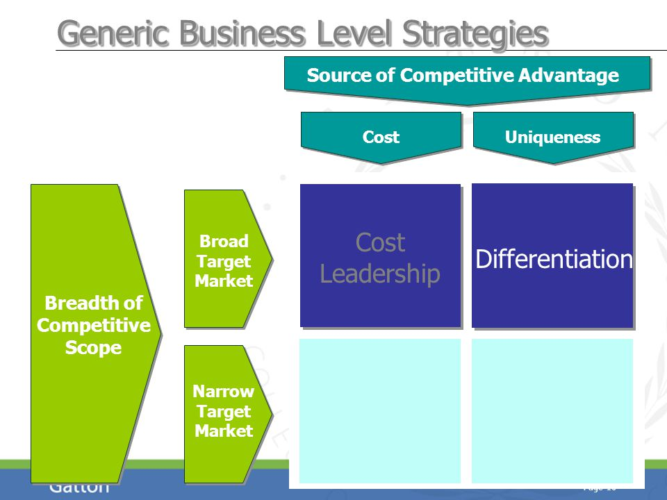 Page 16 Breadth of Competitive Scope Source of Competitive Advantage Broad Target Market Narrow Target Market Cost Generic Business Level Strategies Uniqueness Cost Leadership Differentiation