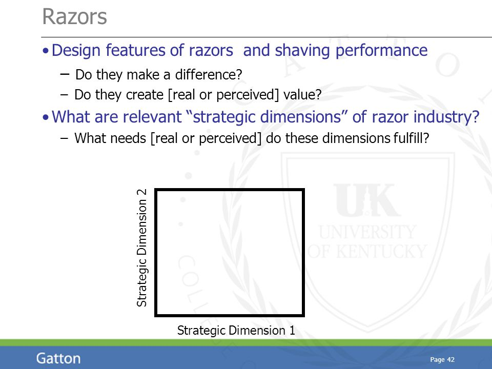 Page 42 Razors Design features of razors and shaving performance – Do they make a difference.