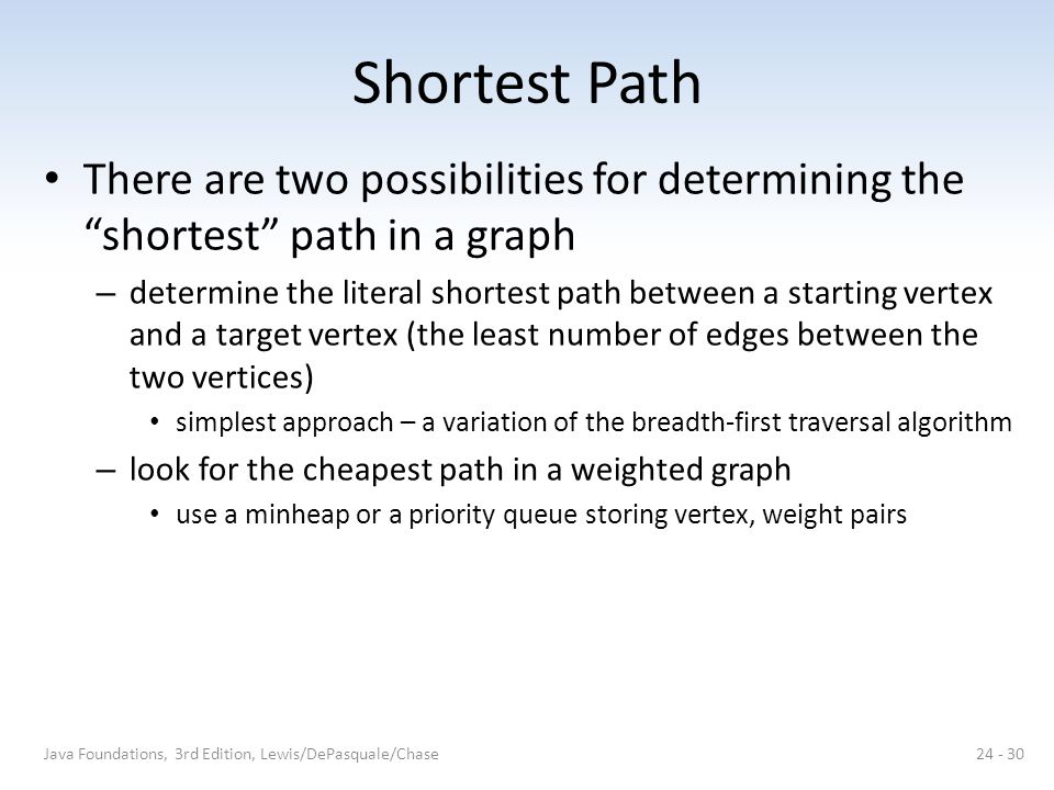 """Shortest Path There are two possibilities for determining the """"shortest"""" path in a graph – determine the literal shortest path between a starting vert"""