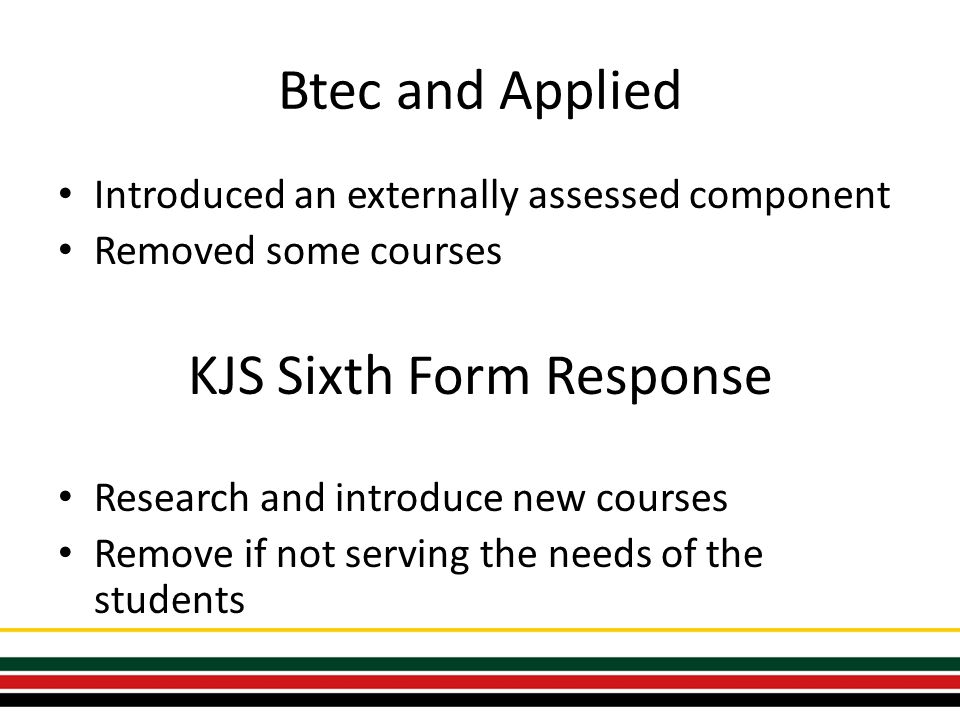 Btec and Applied Introduced an externally assessed component Removed some courses KJS Sixth Form Response Research and introduce new courses Remove if not serving the needs of the students