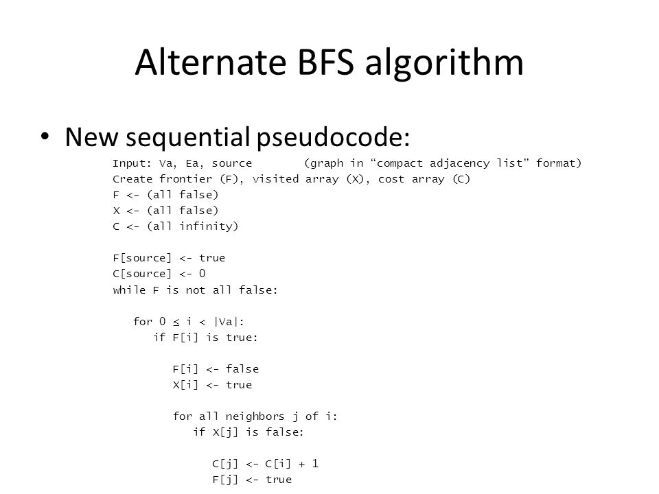 Alternate BFS algorithm New sequential pseudocode: Input: Va, Ea, source(graph in compact adjacency list format) Create frontier (F), visited array (X), cost array (C) F <- (all false) X <- (all false) C <- (all infinity) F[source] <- true C[source] <- 0 while F is not all false: for 0 ≤ i < |Va|: if F[i] is true: F[i] <- false X[i] <- true for all neighbors j of i: if X[j] is false: C[j] <- C[i] + 1 F[j] <- true