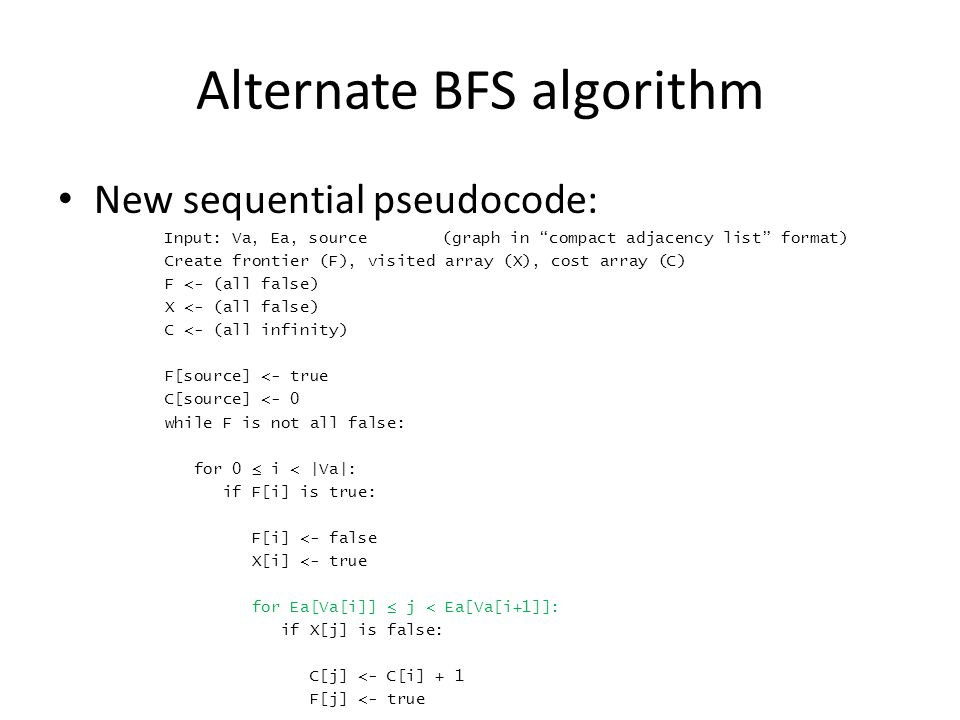 Alternate BFS algorithm New sequential pseudocode: Input: Va, Ea, source(graph in compact adjacency list format) Create frontier (F), visited array (X), cost array (C) F <- (all false) X <- (all false) C <- (all infinity) F[source] <- true C[source] <- 0 while F is not all false: for 0 ≤ i < |Va|: if F[i] is true: F[i] <- false X[i] <- true for Ea[Va[i]] ≤ j < Ea[Va[i+1]]: if X[j] is false: C[j] <- C[i] + 1 F[j] <- true