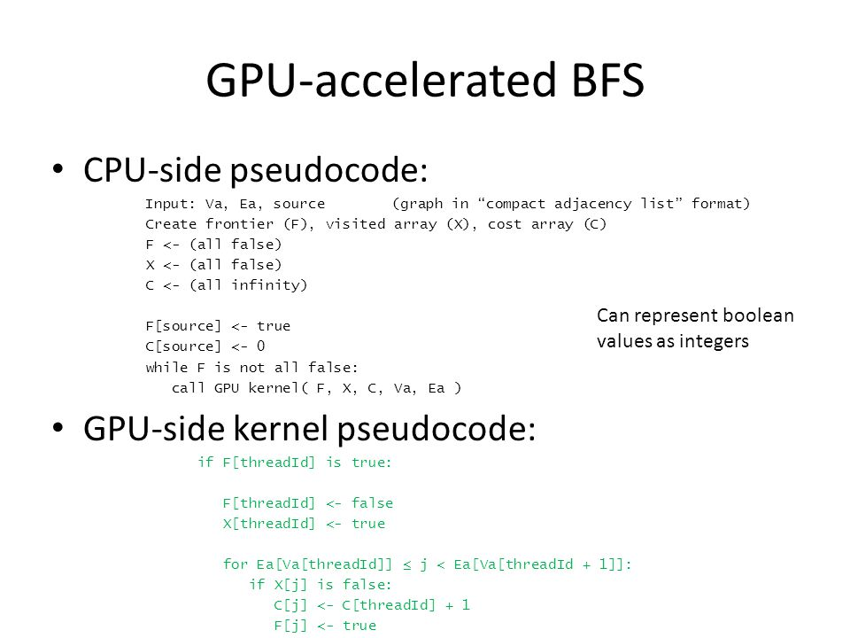 GPU-accelerated BFS CPU-side pseudocode: Input: Va, Ea, source(graph in compact adjacency list format) Create frontier (F), visited array (X), cost array (C) F <- (all false) X <- (all false) C <- (all infinity) F[source] <- true C[source] <- 0 while F is not all false: call GPU kernel( F, X, C, Va, Ea ) GPU-side kernel pseudocode: if F[threadId] is true: F[threadId] <- false X[threadId] <- true for Ea[Va[threadId]] ≤ j < Ea[Va[threadId + 1]]: if X[j] is false: C[j] <- C[threadId] + 1 F[j] <- true Can represent boolean values as integers