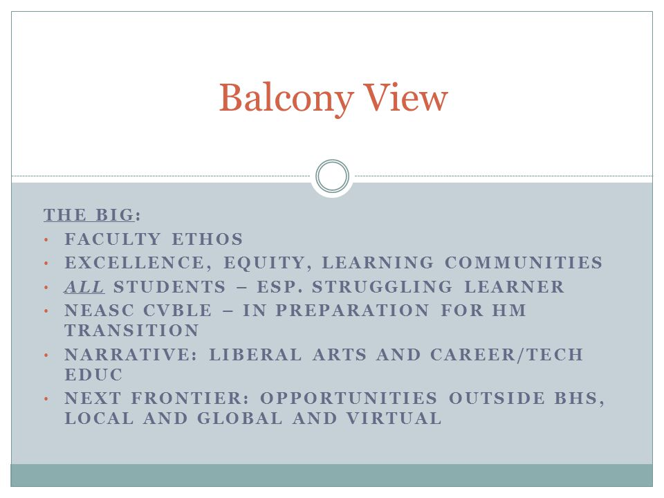 THE BIG: FACULTY ETHOS EXCELLENCE, EQUITY, LEARNING COMMUNITIES ALL STUDENTS – ESP.