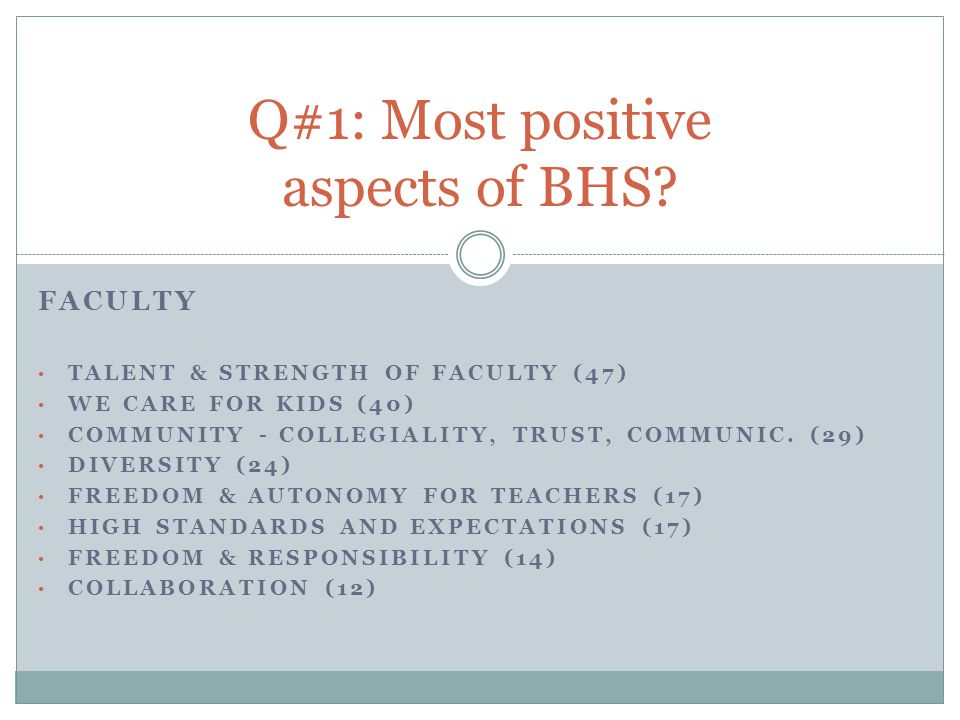 FACULTY TALENT & STRENGTH OF FACULTY (47) WE CARE FOR KIDS (40) COMMUNITY - COLLEGIALITY, TRUST, COMMUNIC.