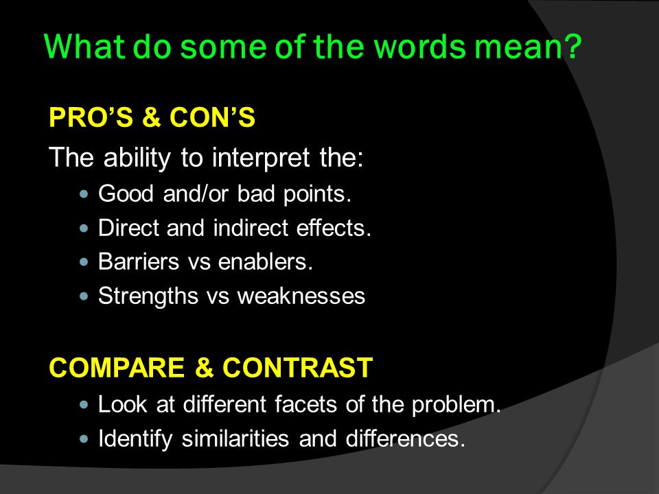 What do some of the words mean. PRO'S & CON'S The ability to interpret the: Good and/or bad points.