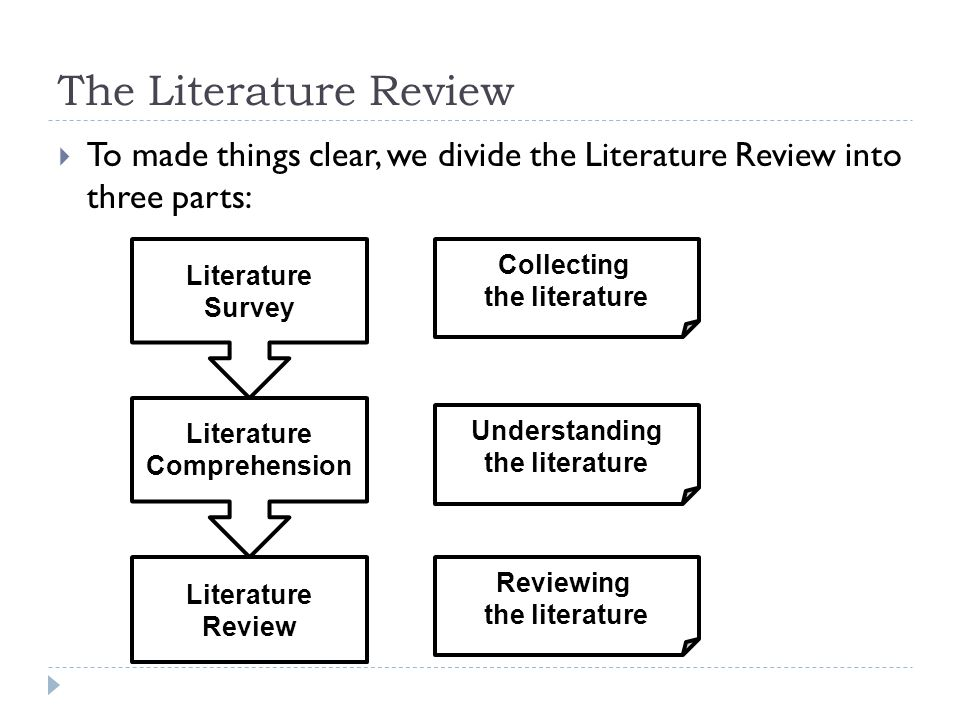 The Literature Review  To made things clear, we divide the Literature Review into three parts: Literature Survey Literature Comprehension Literature Review Collecting the literature Understanding the literature Reviewing the literature
