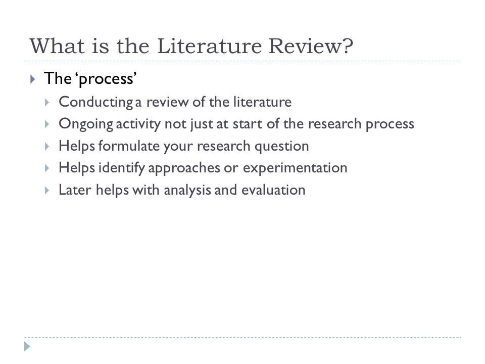 What is the Literature Review.