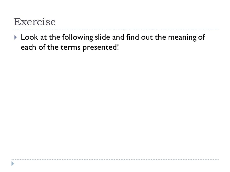 Exercise  Look at the following slide and find out the meaning of each of the terms presented!
