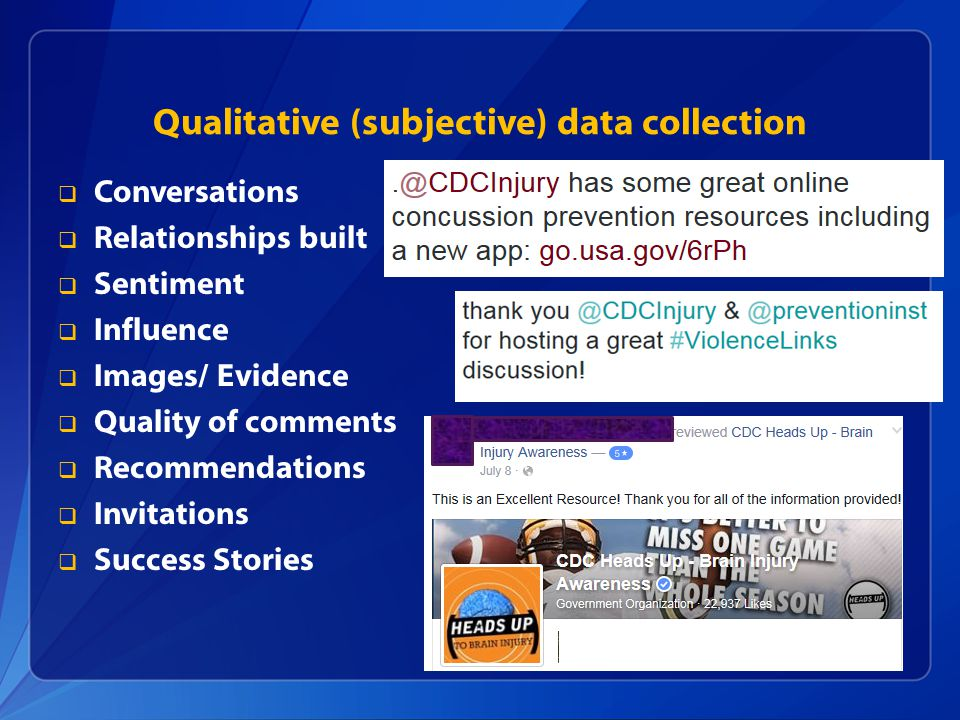 Qualitative (subjective) data collection  Conversations  Relationships built  Sentiment  Influence  Images/ Evidence  Quality of comments  Recommendations  Invitations  Success Stories