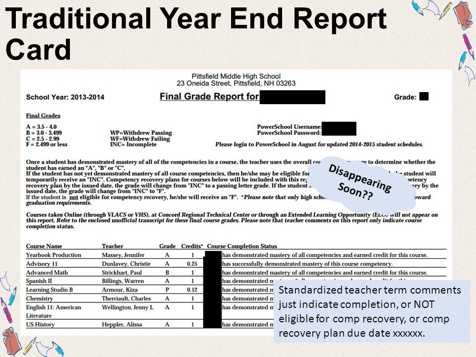Traditional Year End Report Card Standardized teacher term comments just indicate completion, or NOT eligible for comp recovery, or comp recovery plan due date xxxxxx.
