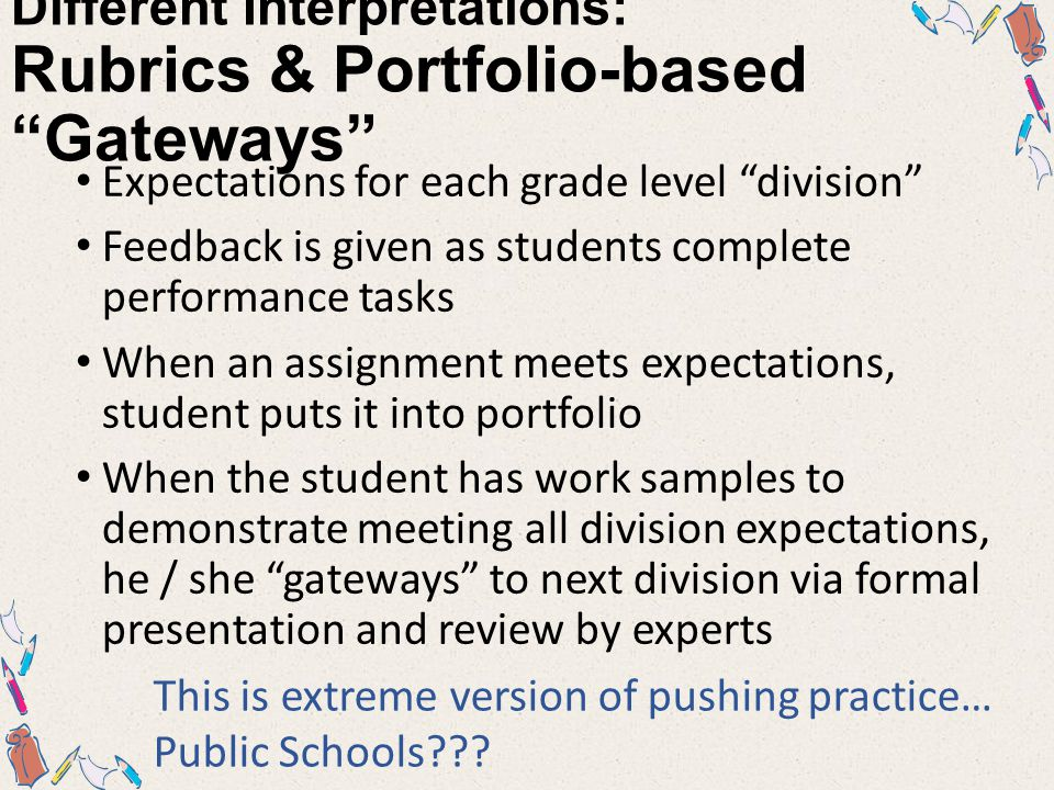 Different Interpretations: PMHS, Overview… Rubrics for each course competency (or indicator) Competency rubrics used for all assessments Assessments within a competency can have DIFFERENT values / weights  formative vs summative  breadth vs depth Teachers use EXEMPT as appropriate, to discount formatives based on summative or to count only the most recent xxx… Competency score = weighted avg of competency assessments Grade AFTER meet all course competencies
