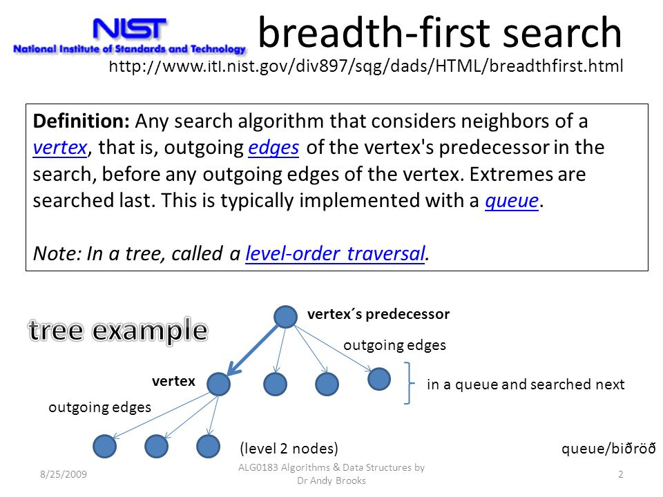 8/25/2009 ALG0183 Algorithms & Data Structures by Dr Andy Brooks 2 breadth-first search http://www.itl.nist.gov/div897/sqg/dads/HTML/breadthfirst.html
