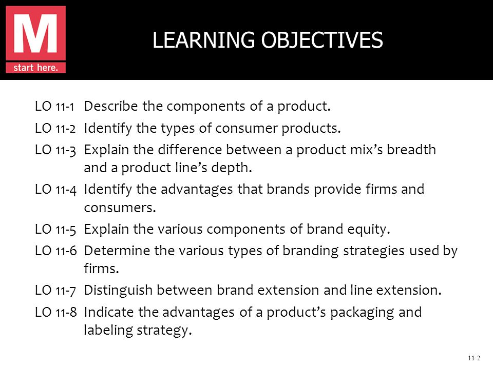11-2 LEARNING OBJECTIVES LO 11-1Describe the components of a product.