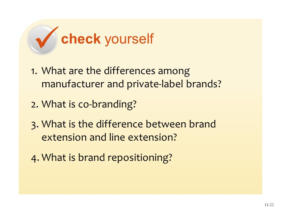 check yourself 11-22 1.What are the differences among manufacturer and private-label brands.