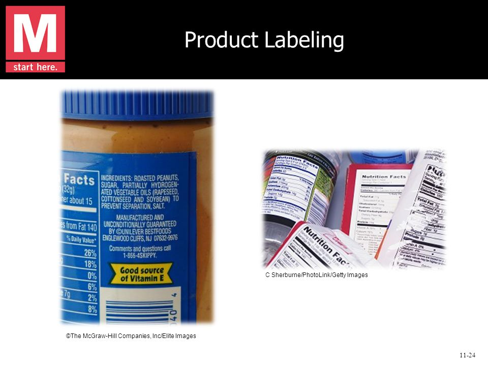 11-24 Product Labeling ©The McGraw-Hill Companies, Inc/Elite Images C Sherburne/PhotoLink/Getty Images