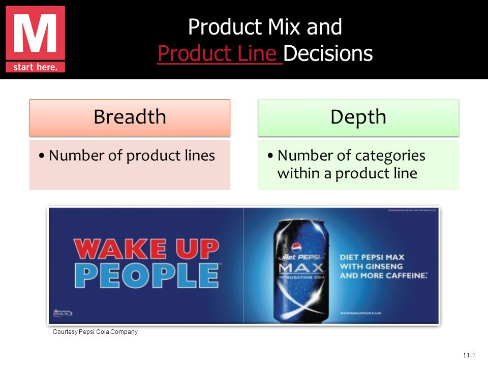 11-7 Product Mix and Product Line Decisions Product Line Breadth Number of product lines Depth Number of categories within a product line Courtesy Pepsi Cola Company