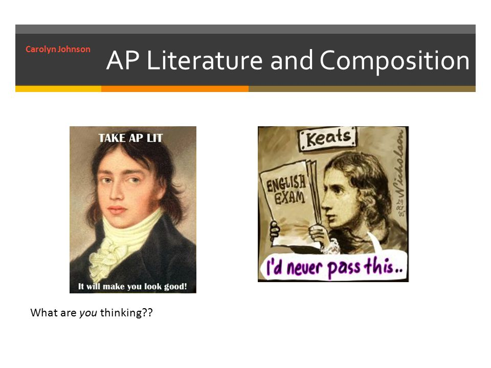 AP Literature and Composition What are you thinking Carolyn Johnson