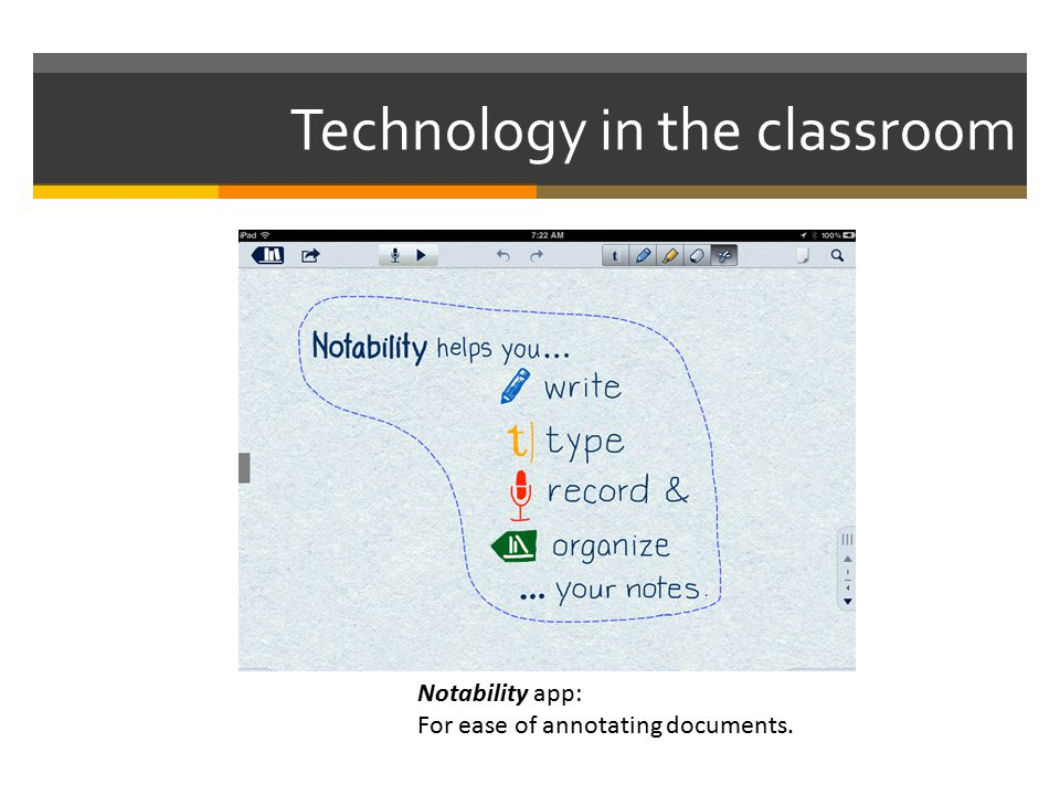 Technology in the classroom Notability app: For ease of annotating documents.