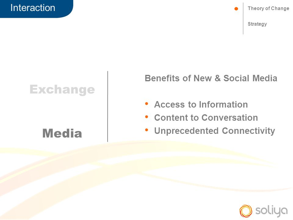 Interaction Theory of Change Strategy Exchange Media Benefits of New & Social Media Access to Information Content to Conversation Unprecedented Connectivity