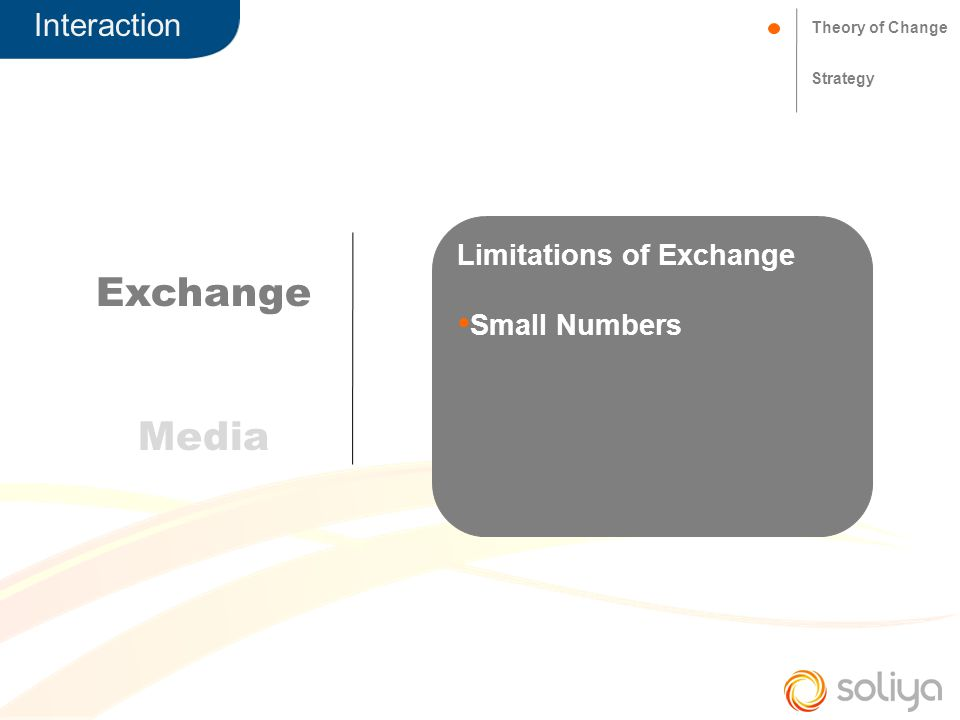 Theory of Change Strategy Exchange Media Limitations of Exchange Small Numbers