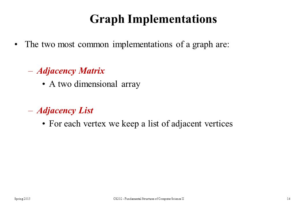 Spring 2015CS202 - Fundamental Structures of Computer Science II14 Graph Implementations The two most common implementations of a graph are: –Adjacency Matrix A two dimensional array –Adjacency List For each vertex we keep a list of adjacent vertices