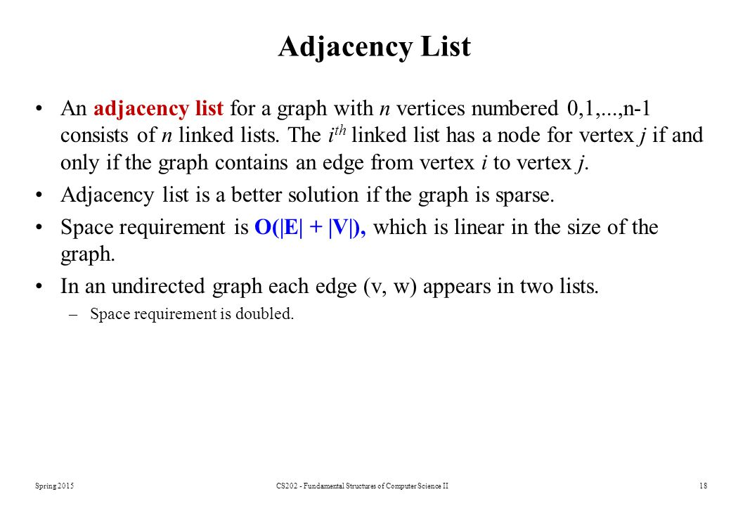 Spring 2015CS202 - Fundamental Structures of Computer Science II18 Adjacency List An adjacency list for a graph with n vertices numbered 0,1,...,n-1 consists of n linked lists.