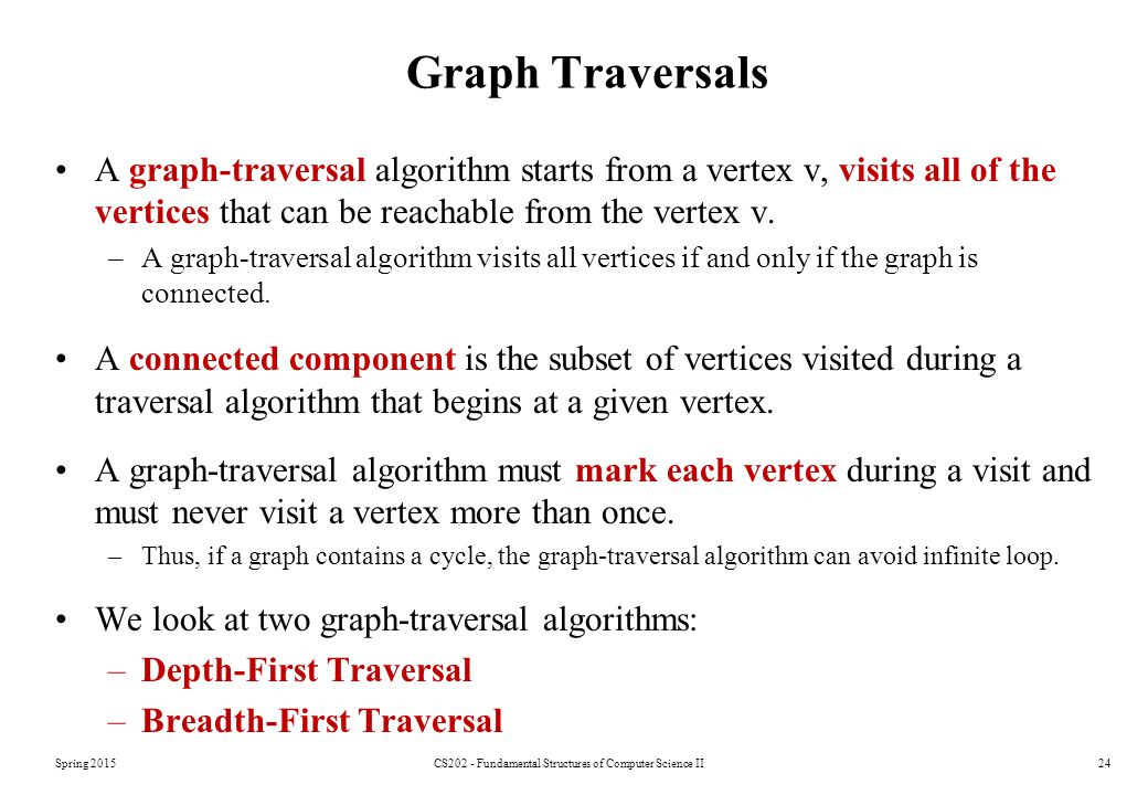 Spring 2015CS202 - Fundamental Structures of Computer Science II24 Graph Traversals A graph-traversal algorithm starts from a vertex v, visits all of the vertices that can be reachable from the vertex v.