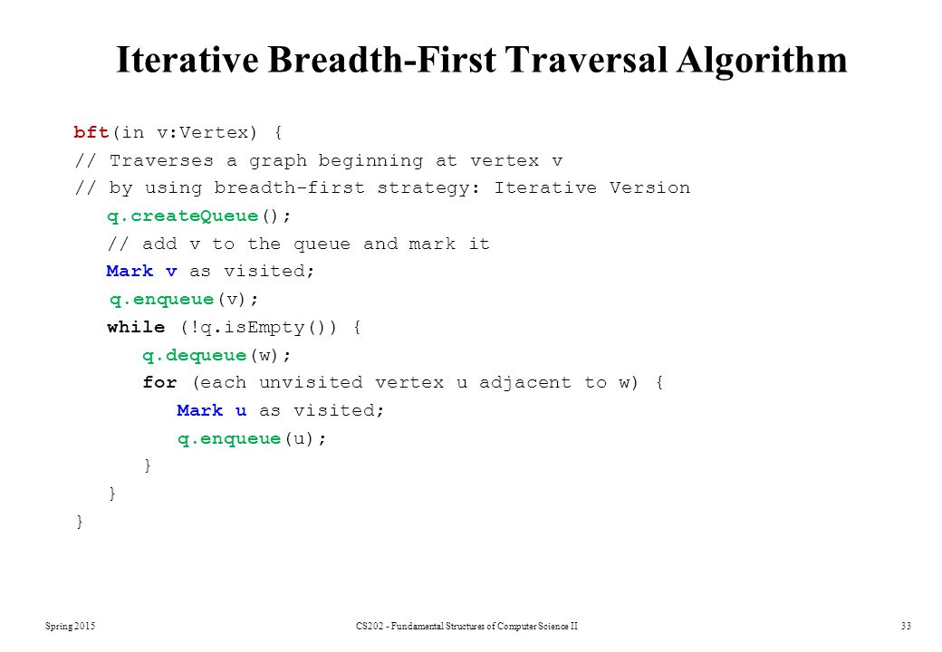 Spring 2015CS202 - Fundamental Structures of Computer Science II33 Iterative Breadth-First Traversal Algorithm bft(in v:Vertex) { // Traverses a graph beginning at vertex v // by using breadth-first strategy: Iterative Version q.createQueue(); // add v to the queue and mark it Mark v as visited; q.enqueue(v); while (!q.isEmpty()) { q.dequeue(w); for (each unvisited vertex u adjacent to w) { Mark u as visited; q.enqueue(u); }