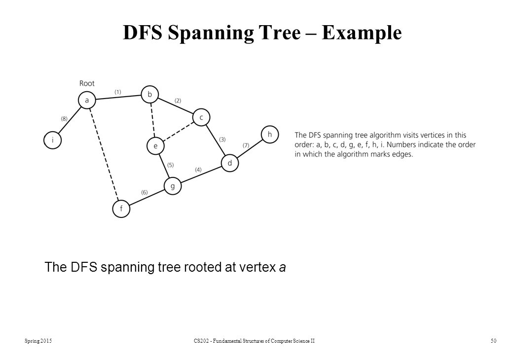 Spring 2015CS202 - Fundamental Structures of Computer Science II50 DFS Spanning Tree – Example The DFS spanning tree rooted at vertex a